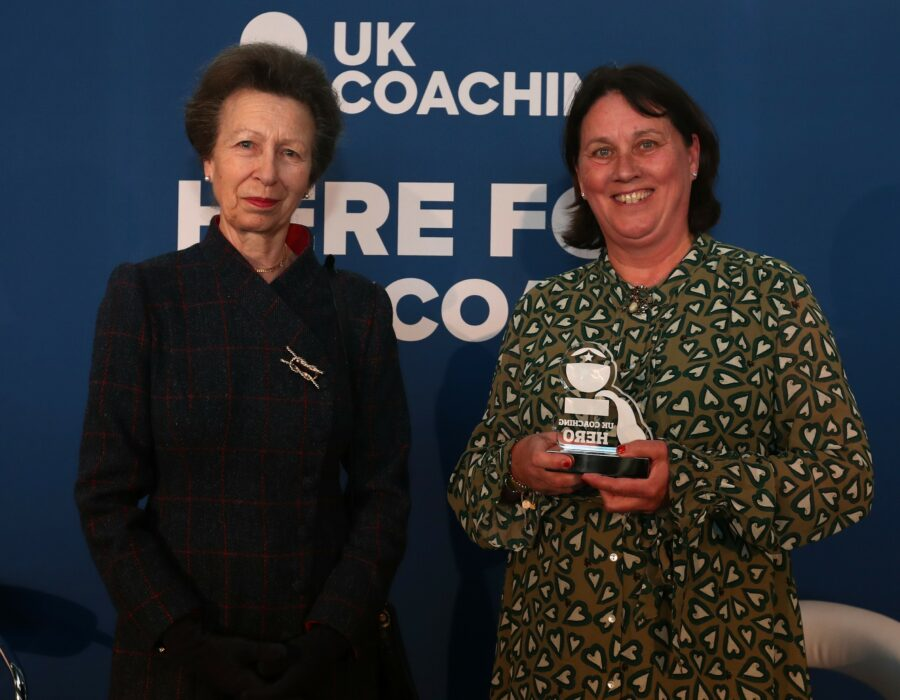 Princess Anne and local hockey coach and PE teacher, Louise Broome, at the UK Coaching Awards 2021.